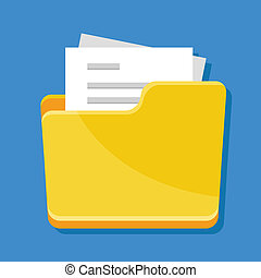 Vector Folder with Documents Icon