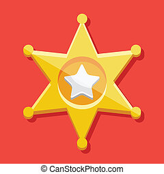 Vector Golden Sheriff Star Icon
