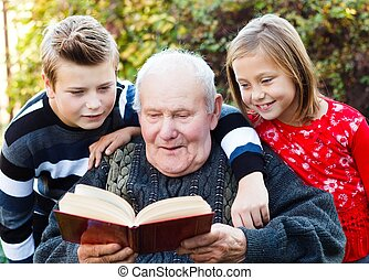 Reading to my grandchildren - Grandpa reading a beautiful...