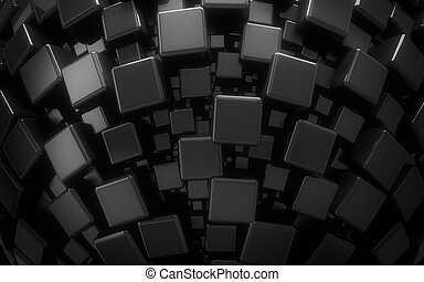 Abstract dark high tech background - Abstract black cubes...