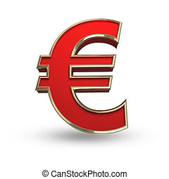 Red Euro symbol on white - Red euro sign on white isolated...