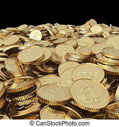 Golden bitcoin coins on balck - Golden bitcoin coins...