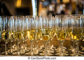 Champagne in the glases on the buffet table