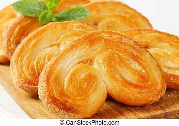 Palmiers - puff pastry cookies - Elephant ear cookies coated...