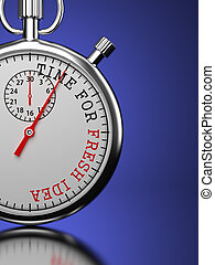 Time For Fresh Idea Concept - Idea Concept Stopwatch with...