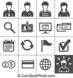 Telecommuting icons set - Simplus series - Telecommuting,...