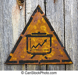 Flipchart Icon on Rusty Warning Sign. - Flipchart with...
