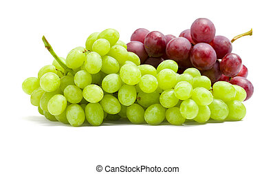 Close up of two bunches of grape, isolated on white. Concept...