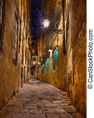 old alley in Florence - oil painting on canvas depicting a...