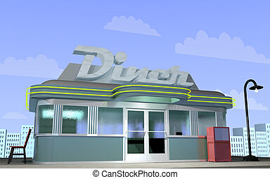 Diner - 3D illustration of a retro diner with a city scape...