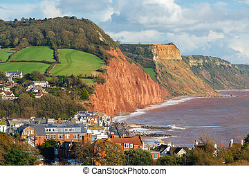 Overlooking Sidmouth Devon England - View down on to...