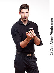 Young businessman using smartphone. - Portrait of a smart...