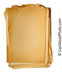 vintage yellowed paper - stack of vintage yellowed paper...