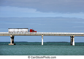 Red truck - Truck driving on Bahia Honda bridge of Overseas...