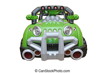 green toy car - big toy green car on the battery from the...