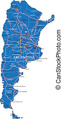 Political map of Argentina - Highly detailed vector map of...