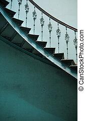 legno, interno, Antico, scale, spirale