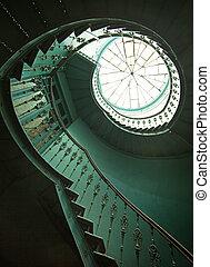 legno, arte, scale, colpo, spirale