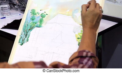 artist drawing pictures - artist drawing picture using...
