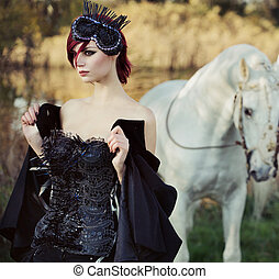 Black queen with huge pure white horse in the background