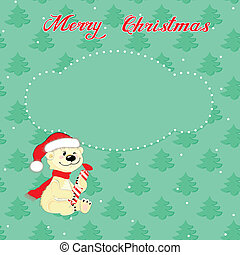 Christmas card with little polar bear - Greeting Christmas...