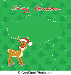 Christmas card with little  deer