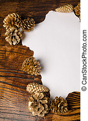 Wish list - Christmas wish list with traditional fir cone...