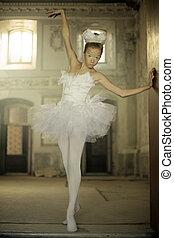 Cute white ballet dancer as swan