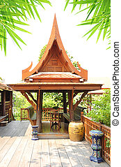 Ancient Thai style wooden gazebo