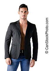 Portrait of attractive young man shirtless with leather...