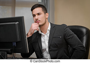 Preoccupied, worried young male office worker - Preoccupied,...