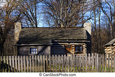 Frontier Home with Picket Fence - Lincoln's New Salem State...