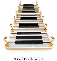 Piano stairway and notes on the white background