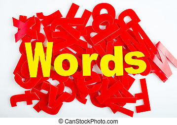 words close-up - find Words in yellow letters on a...