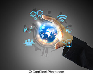 businessman holding social media concept