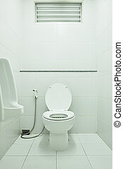 White public toilet - White urinal and toilet bowl with...
