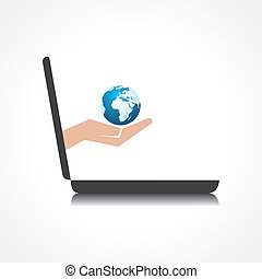 earth icon comes from laptop screen - hand holding earth...