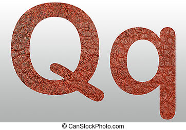 Alphabet Leather Skin Texture text Q