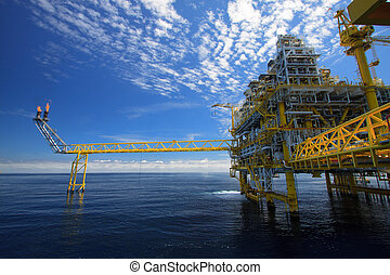 Oil and gas platform in offshore or Offshore construction,...