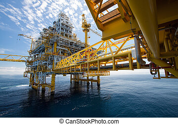 aceite, gas, plataforma, costa afuera, o