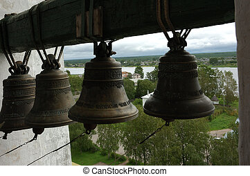 Bells in ancient belfry - View from ancient bell tower in...