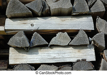 Stack of old firewood - Stack of chopped old birch firewood