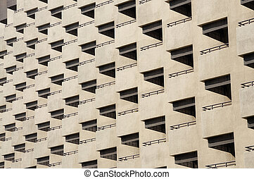Facade of residential building with balconies