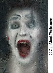 effrayant, figure, crier, mime, sombre, verre