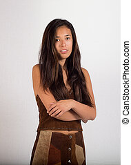 Young Lady in Suede Outfit - Waist High - A pretty young...
