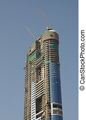 Highrise building construction in Dubai, United Arab Emirates
