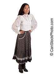 Girl Wearing Western Wear Skirt and Blouse - A young lady...