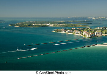 Fisher Island - Aerial view of the seashore in Miami show...