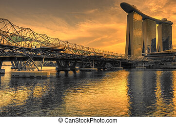 marina bay sands and helix bridge - dusk at marina bay sands...