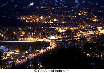 Breckenridge at Night - Town of Breckenridge at Night -...